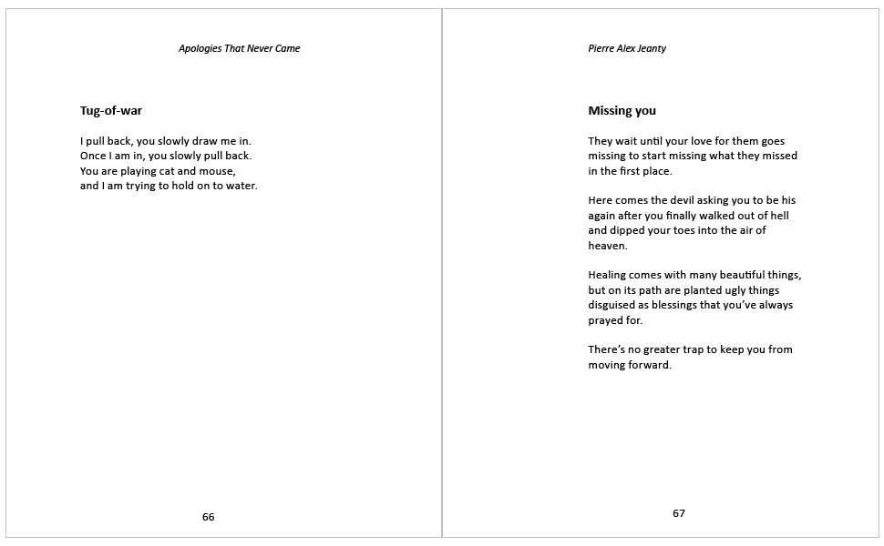 Sample Poems from Apologies That Never Came