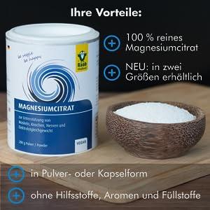 Raab Vitalfood; Magnesium; Magnesiumcitrat; Nahrungsergänzung; Sport; Bio; laborgeprüft; Deutschland