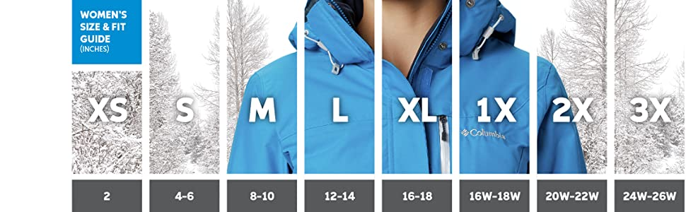 Women's winter jacket sizing