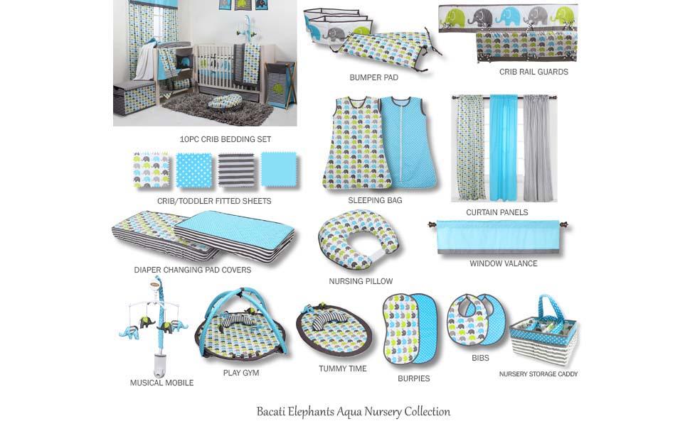 Bacati Mix and Match Bumper Pad Aqua//Grey