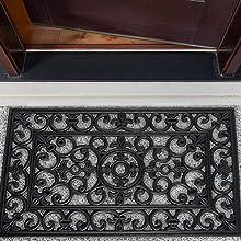 """Rubber Entry Way Doormat For Patio, Front Door, All Weather Exterior Doors, 18 x 30"""" - Scroll"""