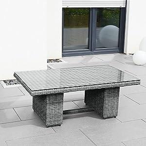 greemotion tisch bari grau terassentisch mit gasdruckfeder stufenlos h henverstellbar esstisch. Black Bedroom Furniture Sets. Home Design Ideas