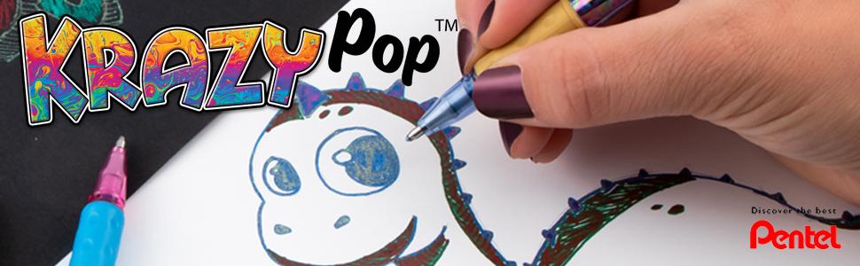 krazy, pop, pentel, gel, pen, glitter, pop series, milky, sparkle