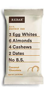 Coconut protein bar, chocolate protein, protein bar, rxbar, rxbars, health bar, protein