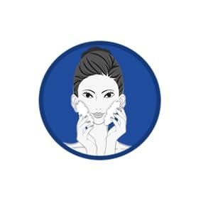 Massage across forehead, nose & chin in slow, circular motion,avoiding eye & lip area