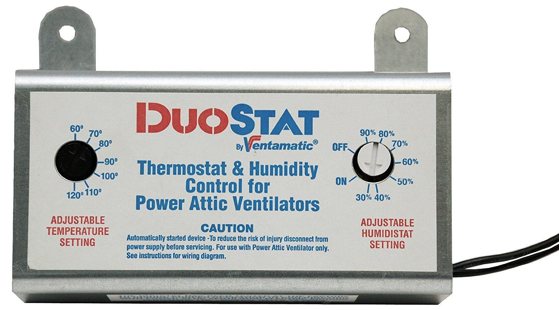 ventamatic xxduostat adjustable dual thermostat humidistat control rh amazon com