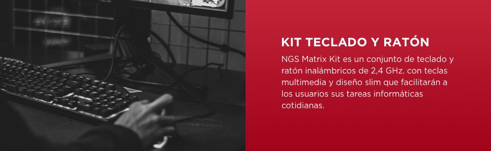 NGS Matrix Kit Teclado + RATÓN INALÁMBRICOS Ultra Plano Teclas SILENCIOSAS (QWERTY Español): Ngs: Amazon.es: Informática