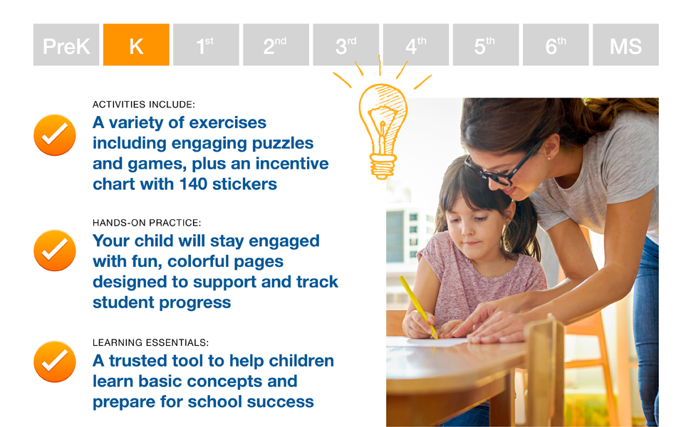 A mother helping her kindergarten daughter with her homework. Highlights of the workbook listed