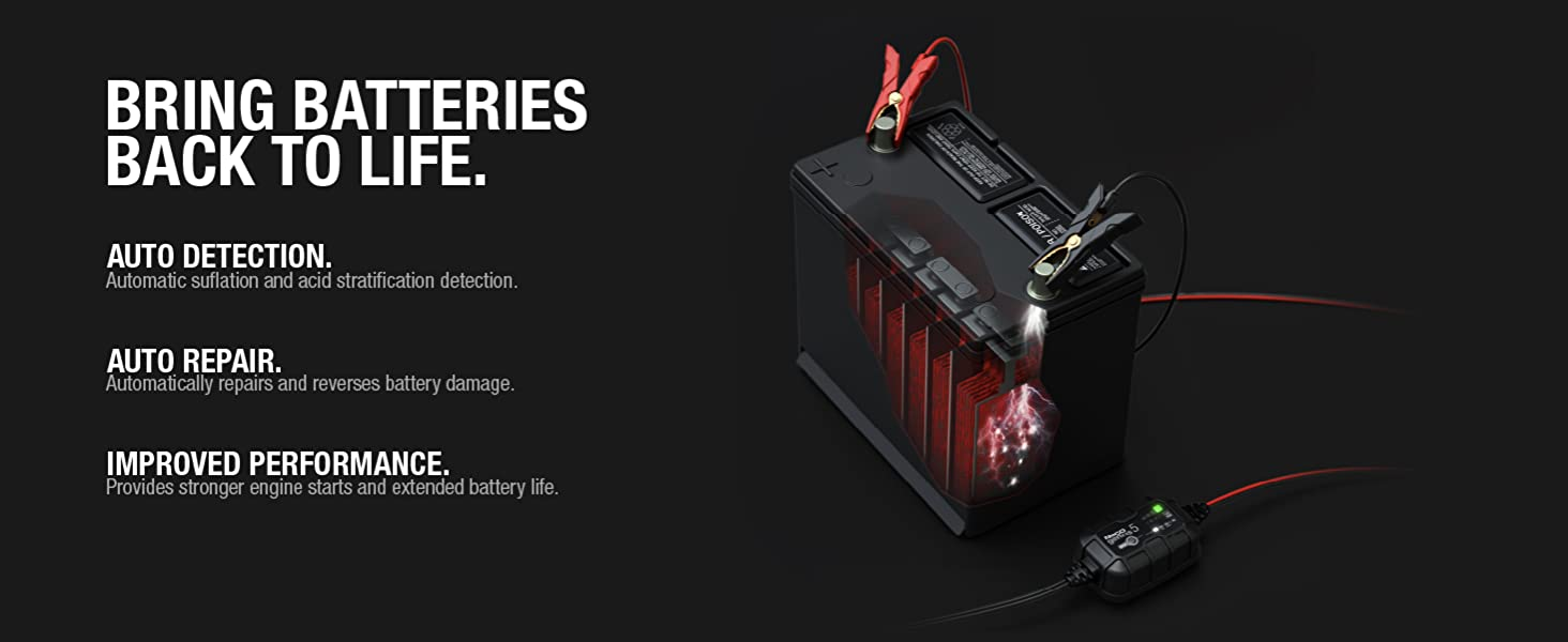 GENIUS5, 6V, 12V, charger, maintainer, desulfator, lead-acid batteries, 120 amp-hours, repair mode