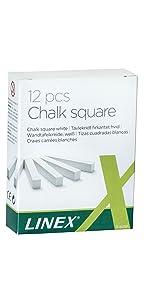 Linex 100412202 Tafelkreide wei/ß 10 St/ück in einem Paket Wandtafel-Kreide staubfrei
