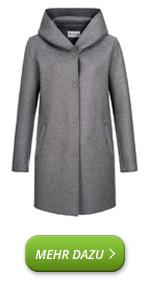 Cappotto leggero da donna in lana di feltro con cappuccio