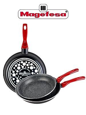 Magefesa Níger-Juego de 3 Sartenes 18Ø 20Ø 24Ø de Acero esmaltado, con Antiadherente Multicapa Efecto Piedra, aptas para Todo Tipo de cocinas incluida ...