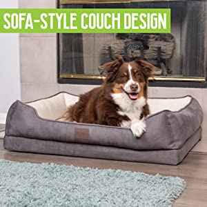 Pet Craft Supply Premium Orthopedic Lounger Dog Bed Sofa-Style Couch  Removable Machine Washable