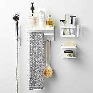 マグネットバスルーム多機能ラック タワー ホワイト