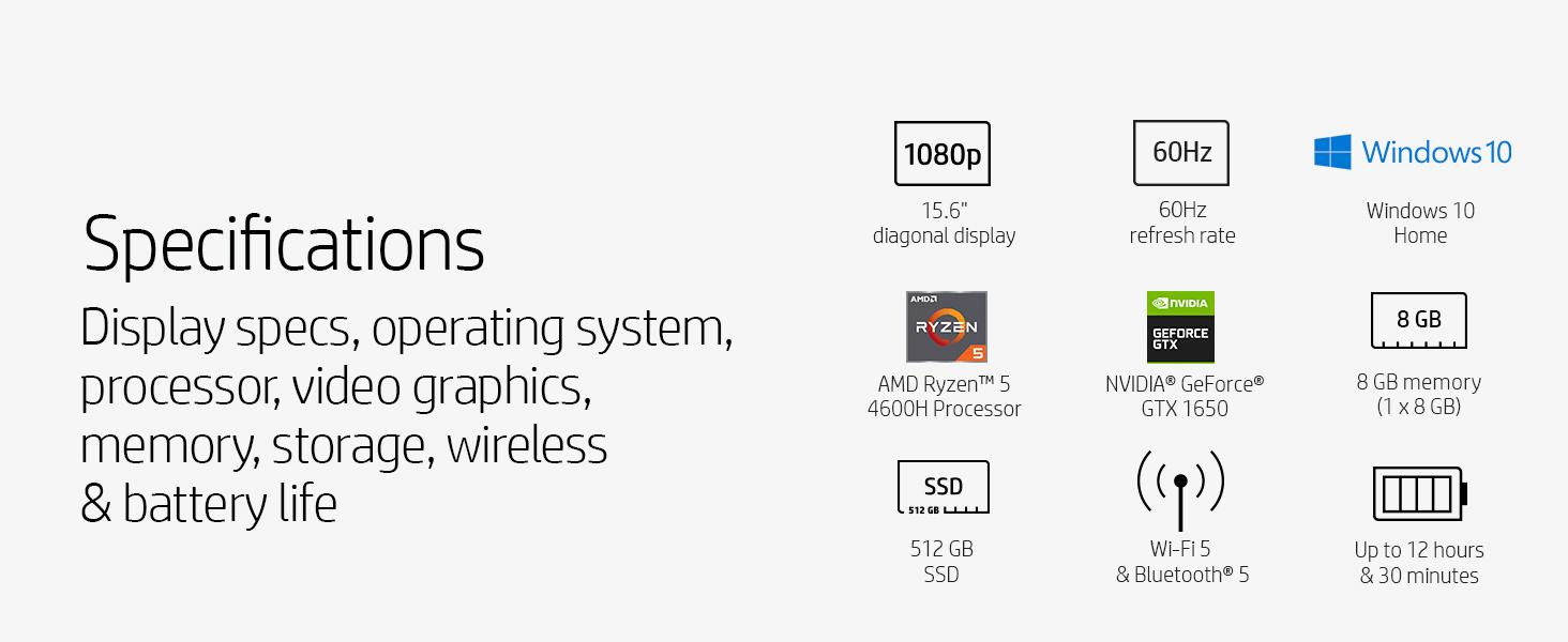 15.6 inch inches display fhd full hd Windows 10 NVIDIA GeForce gtx 1650 amd ryzen 5 4600h 8 gb 512