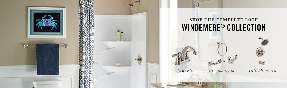 windemere bathroom accessories complete the collection shower faucet trim kit towel ring robe hook