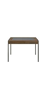 Indus Chic Table de Repas Rectangulaire Design Industriel Métal Gris Bois Noyer