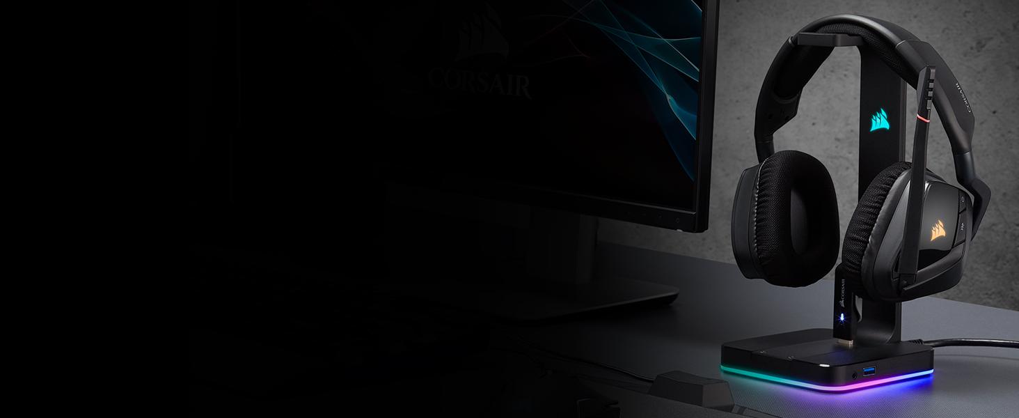 Corsair ST100 RGB Support pour Casque d'Ecoute Haut de Gamme avec son Ambiophonique 7.1 Noir