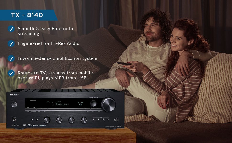 Onkyo TX8140 TX-8140 2.1 Ch Network Stereo Receiver with Built-In Wi-Fi /& Bluet
