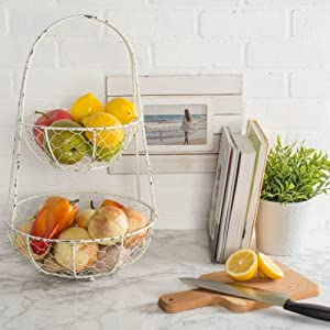 DII Z01364 Vintage Metal Chicken Wire 2 Tier Fruit and Vegetable Standing  Storage Basket for Kitchen and Pantry, Rustic