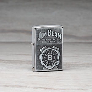 jim beam, logo, seal, emblem, silver lighter, chrome lighter, ronxs, refillable lighter, reusable
