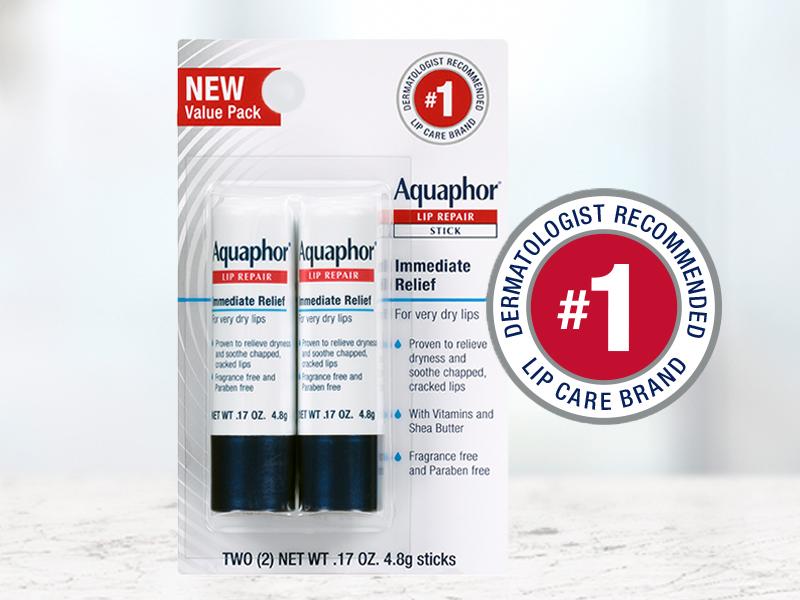 Aquaphor lip repair stick, 2 pack, dermatologist recommended lip care brand