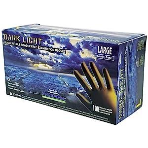 Dark Light Black Nitrile Disposable Gloves Auto Mechanic 9mil