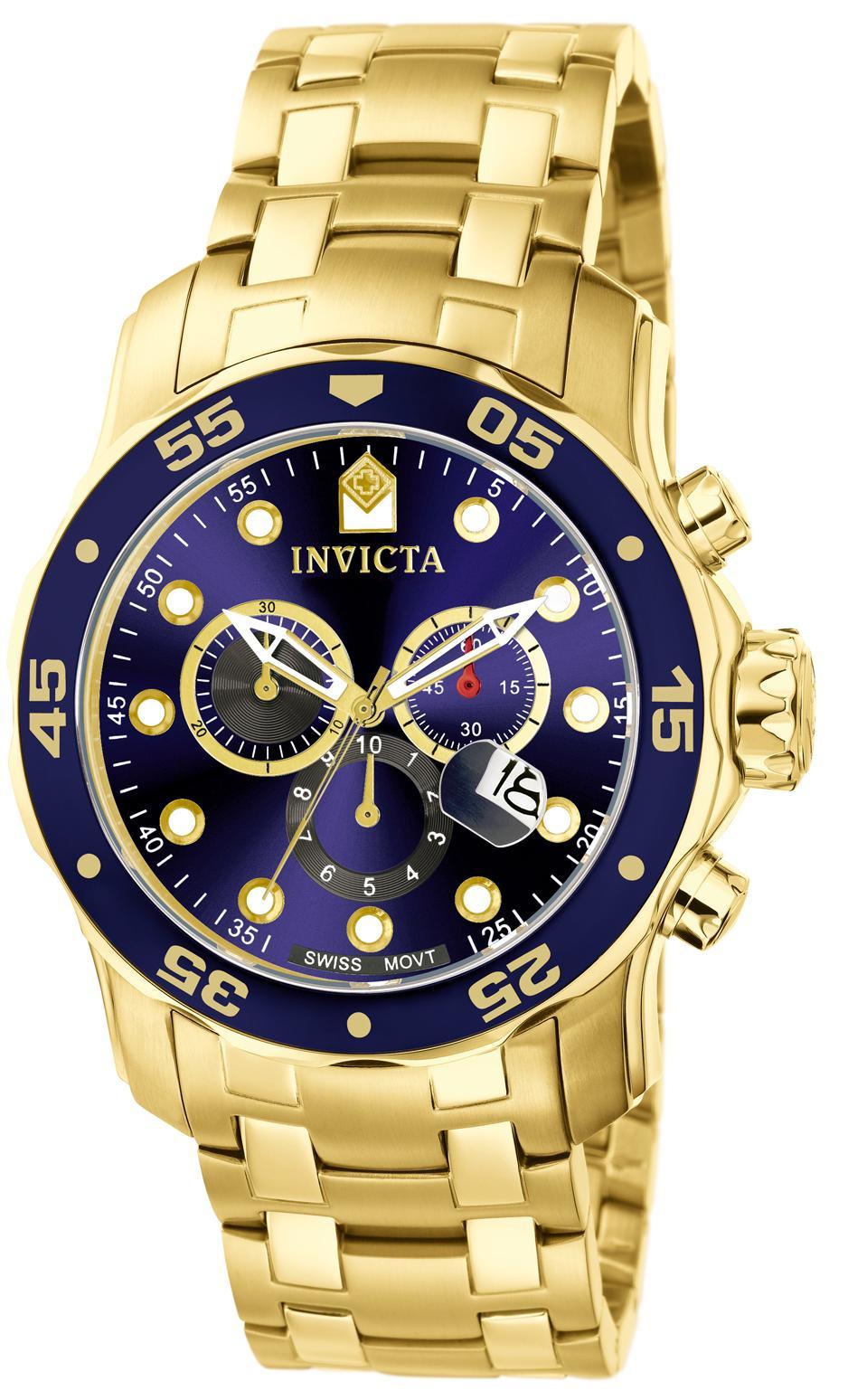 719f994f7ad Relógio Invicta Men s 0073 Pro Diver Collection Chronograph 18k Gold ...