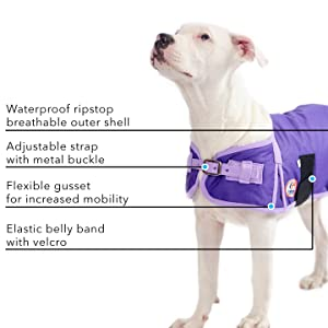 Waterproof breathable dog coat jacket for winter belly band