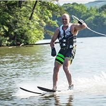 pure combo skis, pure skis, intermediate water skis, water skis, adult water skis, rave sports