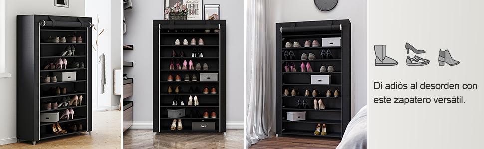 SONGMICS Zapatero de Tela 10 Niveles Organizador para Zapatos Tamaño Grande 100 x 28 x 162 cm Negro RXJ00H: Amazon.es: Hogar
