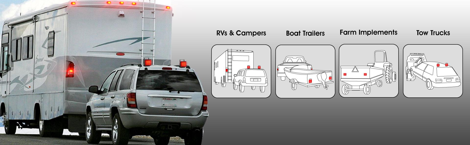 Bully Nv 5164 Wireless Led Trailer Towing Light Automotive Three Prong To 4 Flat Wiring Diagram View Larger