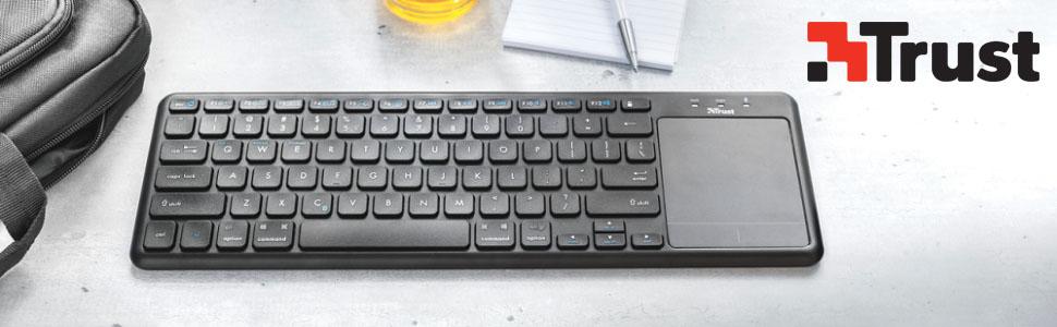 Trust Mida - Teclado Multimedia Bluetooth con Panel táctil XL Integrado, Color Negro: Amazon.es: Informática