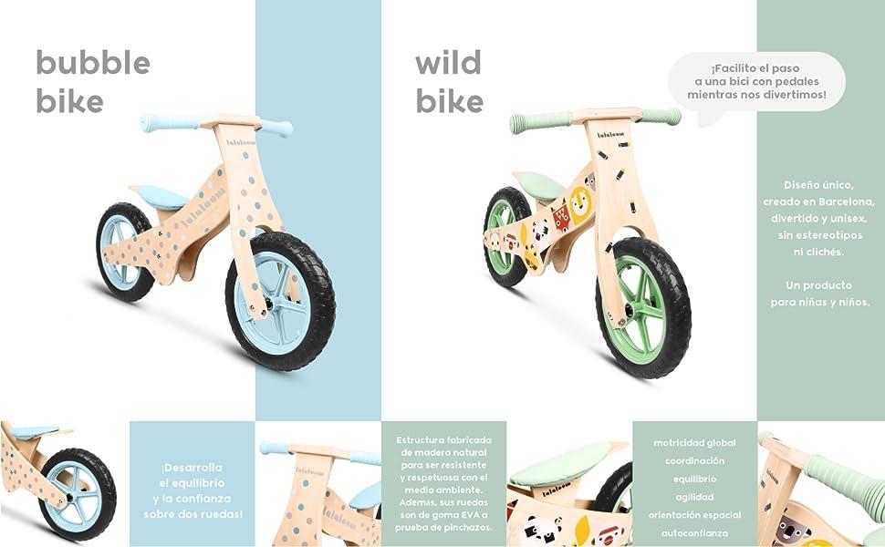 Lalaloom- Wild Bike Bicicleta sin Pedales de Madera, Color Verde ...