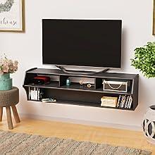 "Prepac BCAW-0208-1 Altus Plus 58"" Floating TV Stand, Black"