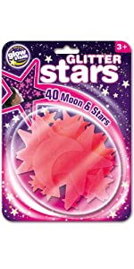 Pink glitter moon and stars