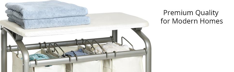 sevilleclassics premium fancy white laundry hamper sorter organizer tilt lift out rolling mobile
