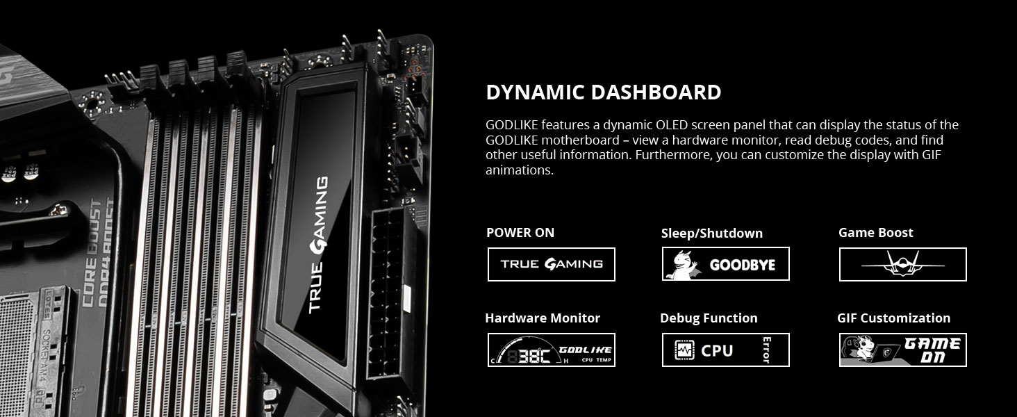 msi meg x570 godlike dynamic dashboard oled post screen display code error gif hardware monitor