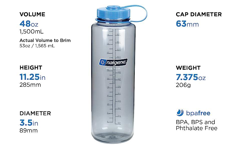 wide mouth, 48oz, bpa free, bps free, lightweight, phthalate free, nalgene, water, bottle, HDPE