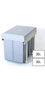 40L double kitchen waste bin