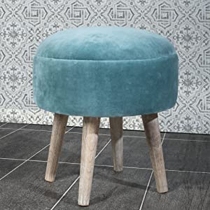 turquoise bench, blue ottoman, blue bench, blue stool for bathroom, stool for bathroom, pouf stool