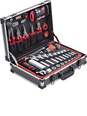 69 tlg Werkzeug bestückt gefüllt hochwertig NEU Metall Werkzeugkasten rot inkl