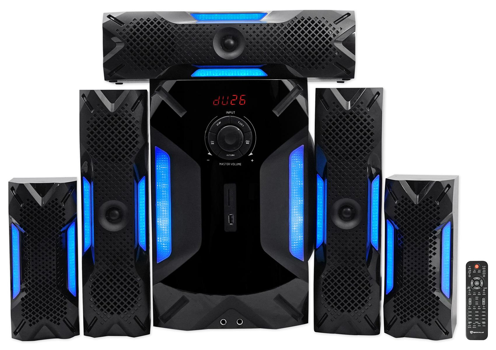 Amazon Com  Rockville Hts56 1000w 5 1 Channel Home Theater System  Bluetooth  Usb 8 U0026quot  Subwoofer