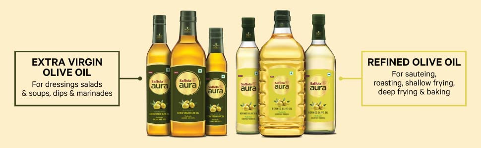 premium cooking oil,olive oil for cooking,saffola aura refined oil,refined olive oil,refined oil,