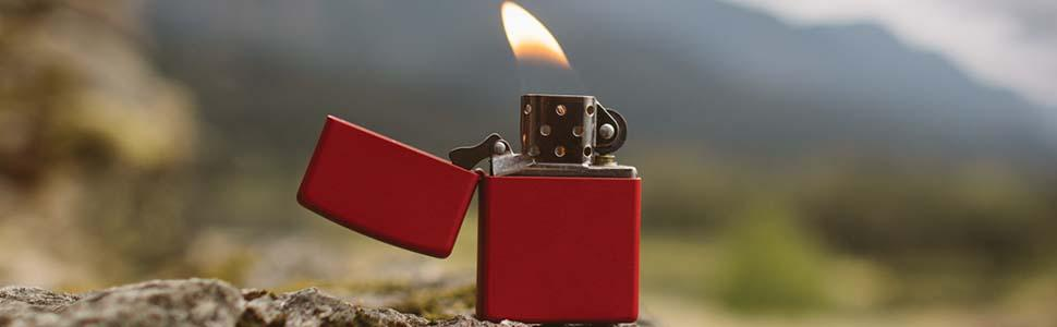 matte lighter, zippo matte lighters, red matte, red matte lighter, pocket lighter, windproof lighter