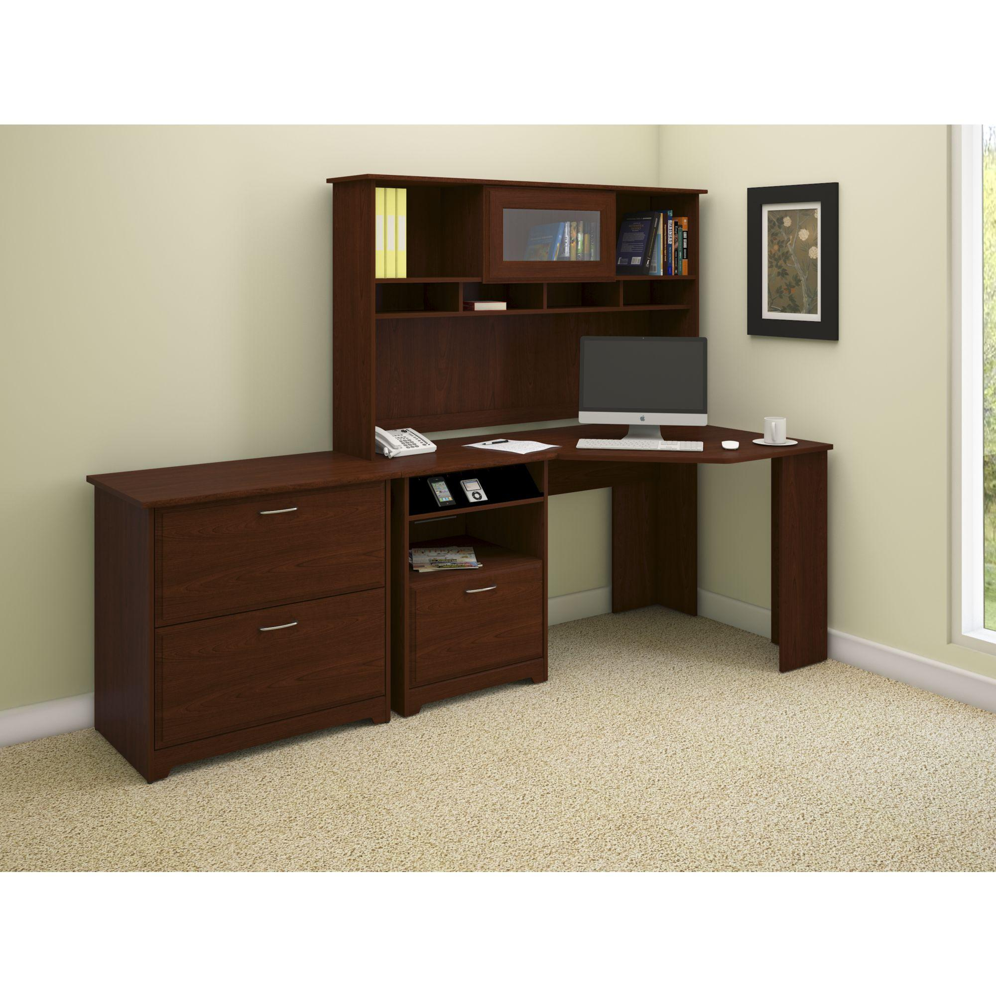 Amazon Com Bush Furniture Cabot Corner Desk With Hutch