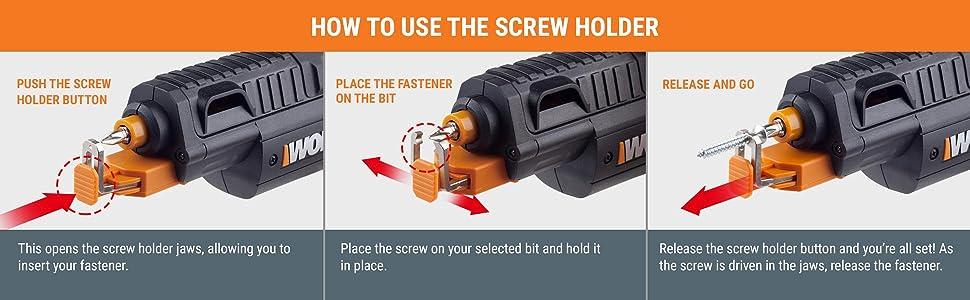 WORX WX255L SD Semi-Automatic Power Screw Driver with Screw Holder 20