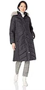 Anne Klein Long Down Coat with Faux Fur Hood