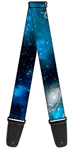 Blue Sky Night Galaxy Space Dust Stars Silver Shiny Acoustic electric guitar strap