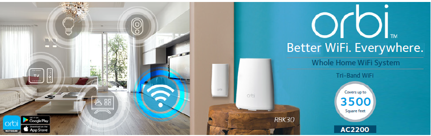 Orbi Whole Home Wi Fi System 3500 Sq Feet Coverage Ac2200